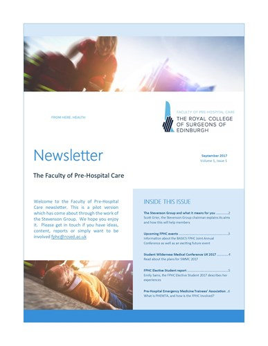 Cover page of the FPHC Newsletter - September 2017