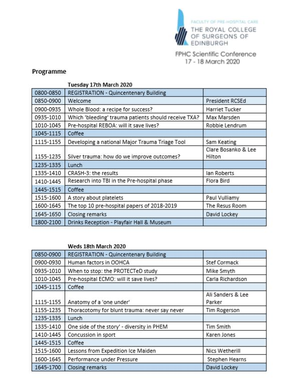 Scientific Conference - Draft 2 Day Programme